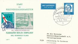 BERLIN-ZENTRALFLUGHAFEN  -  1962  ,  15 Pf.  Luther  -  START Von POSTVERSUCHSRAKETEN  -  Privatpostkarte  PP 31 / 3a - Privatpostkarten - Gebraucht