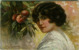 MONESTIER SIGNED 1920s POSTCARD - WOMAN WITH FRUITS - SERIE 871 (BG1905) - Monestier, C.