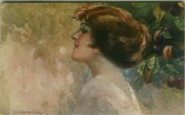 MONESTIER SIGNED 1920s POSTCARD - WOMAN WITH FRUITS - SERIE 871 (BG1906) - Monestier, C.