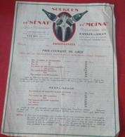 Tarifs 1920 Eaux Minérales Du Bassin De Vichy Sources Du Sénat Et Moïna Jaillissantes Graviers De St Sylvestre - 1900 – 1949