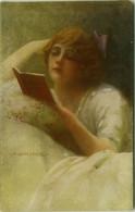MONESTIER SIGNED 1920s POSTCARD - WOMAN READING BOOK - N. 286 (BG1907) - Monestier, C.
