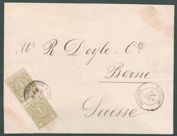 7.10.1885 Uruguay Circulated Cover From Montevideo To Berne Suisse Switzerland - Yvert 57 (2) Vertical Pair S91-8 - Uruguay