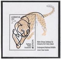 Azerbaijan 2021. Europa CEPT.Endangered National Wildlife (Panthera Pardus). S/S: 2m - Azerbaïjan