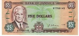 Billet 5 Dollars Jamaique - Jamaica