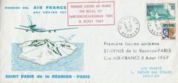 PREMIERE LIAISON AERIENNE SAINT DENIS DE LA REUNION-PARIS PAR BOEING 707 AIR FRANCE - Avions