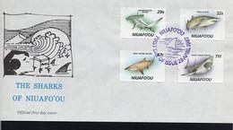 MARINE LIFE  - NIUAFOOU - 1987 - SHARKS SET OF 4 + S/SHEET ON 2 ILLUSTRATED FDCS - Mundo Aquatico