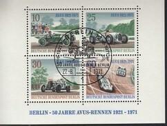 BERLIN Block 3, Gestempelt, 50 Jahre AVUS-Rennen 1971 - Bloques