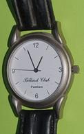Montre Quartz Pile Neuve - Bracelet Cuir Noir - Collector : BILLARD CLUB L'UNION - Années 2000 - Orologi Pubblicitari