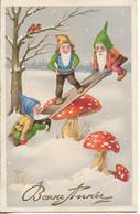 CP ILLUSTREE. BONNE ANNEE. LUTINS, CHAMPIGNONS, PAYSAGE HIVERNAL. 1941. - Año Nuevo