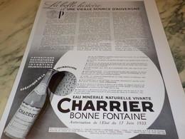 ANCIENNE PUBLICITE UNE VIELLE SOURCE D AUVERGNE CHARRIER 1936 - Posters