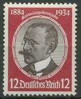 Deutsches Reich 1934 Kolonialforscher Waag. Gummiriffelung 542 Y Postfrisch - Neufs