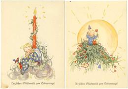 AK 1940 2 Stück Glückwunsch Geburtstag Birthday Kinder Blumen   (2830 - Other