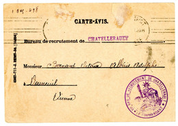 VIENNE CPFM 1930 BUREAU DE RECRUTEMENT CHATELLERAULT SCAN RECTO ET VERSO - 1921-1960: Modern Period