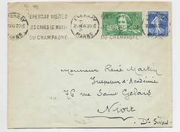 SURTAXE 40C BERLIOZ +10C SEMEUSE LETTRE EPERNAY MARNE 1936 AU TARIF - 1921-1960: Modern Tijdperk