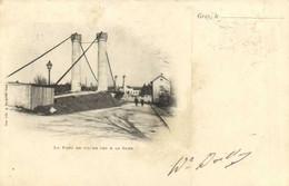 GRAY  Le Pont De Fil De Fer & La Gare Pionnière RV  Beau Timbre 1c - Gray