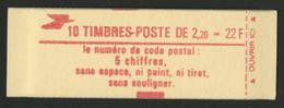 N° 2376 - C3 Cote 14 € Vendu à La Valeur Faciale 3,35 € Carnet Fermé De 10 TP à 2,20 Fr Rouge LIBERTE DE GANDON Conf 9 - Definitives