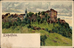 Artiste Lithographie Hoch, F., La Petite Pierre Lützelstein Elsass Bas Rhin, Kirche, Wohnhäuser - Andere Gemeenten