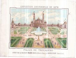 Chromo Exposition Universelle PARIS 1878 - (14 X 18 Cm) - Chocolat IBLED - Palais Du Trocadéro - Au Verso : PRIX-COURANT - Ibled