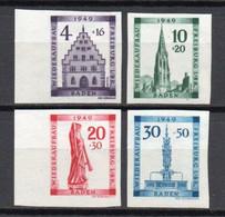 - BADE / BADEN / OCCUPATION FRANCAISE N° 42/45 Neufs ** MNH Non Dentelés - Série Fribourg-en-Brisgau 1949 - Cote 100 € - - French Zone