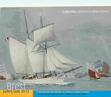Bateaux - Art Peinture - Voilier - La Belle Poule , Goélette De La Marine Nationale - Carte Publicitaire Brest 2012 - CP - Autres