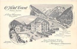 VALAIS - GRAND HOTEL TRIENT - GARE CHATELARD - TRIENT, LIGNE DE CHEMIN DE FER MARTIGNY - CHAMONIX  CARTE DESSINEE - VS Valais