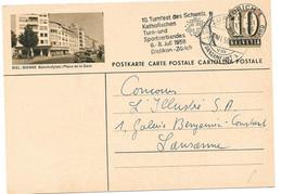 """253 - 68 - Entier Postal Avec Illustration """"Biel/Bienne"""" Superbe Oblit Mécanique Turnfest 1956 - Jockey (sobre Hielo)"""