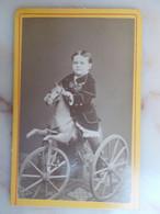 PHOTO CDV - Enfant Sur Cheval A Bascule - Old (before 1900)