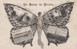 ITALIE.  UN SALUT DE NOVARA . MULTI-VUES   FEMME PAPILLON - Farfalle