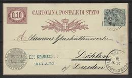 Italie Entier Postale N° 3 Obli - 1878 - Stamped Stationery