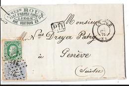 LETTRE DE BELGIQUE DESTINATION SUISSE - Postmarks - Points