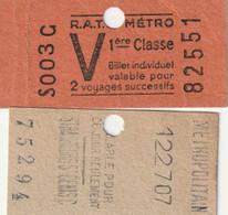 2 Tickets De Metro 1 Classe Et Strasbourg Saint Denis Ce Jour - Europe