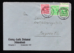 AM-POST Brief SCHWABACH - Bayreuth - 21.6.46 - Mi.3 (1x Mit OR-Beschriftung), Mi.8 - Zona Anglo-Americana