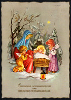 F2961 - Glückwunschkarte Weihnachten - Krippe Weihnachtskrippe Engel Angel - Krüger - Ohne Zuordnung