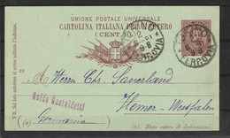 Italie Entier Postale N° 17A Obli - 1898 - Stamped Stationery