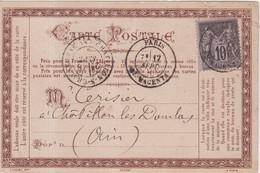 "FRANCE :  TYPE SAGE . CARTE PRECURSEUR . "" STENO DUPLOYE EN BRUN "" . 1880 . - 1877-1920: Periodo Semi Moderno"