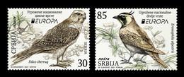 Serbia 2021 Mih. 1005/06 Europa. National Endangered Wildlife. Fauna. Birds. Saker Falcon And Horned Lark MNH ** - Serbia