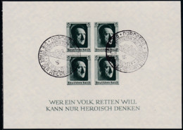 """Deutsches Reich, 1937, 647 Block 8, Gestempelt Oo, Briefmarkenausstellung """"Die Deutsche Briefmarke"""", - Blocks & Sheetlets"""