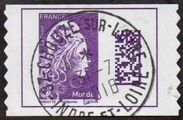 Oblitération Cachet à Date Sur Autoadhésif De France N° 1604 - Marianne L'Engagé. Datamatrix Monde PRO - Autoadesivi