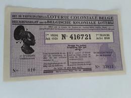 BELGISCHE KOLONIALE LOTERIJ TRANCHE  JUILLET 1938 - Lottery Tickets