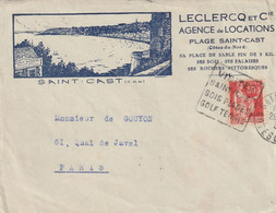 SAINT-CAST : Env. Illustrée De L'Agence De Locations LECLERCQ Et Cie , Plage De St. Cast. + Daguin. - 1921-1960: Période Moderne