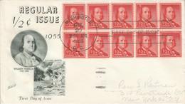 USA ETATS UNIS FDC 1955 BENJAMIN FRANKLIN - 1951-1960