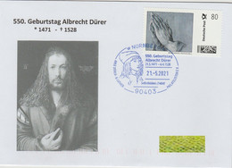 "Albrecht Dürer, Sonderstempel Nürnberg ""550. Geburtstag 2021"", Marke Individuell ""Betende Hände"" - Other"
