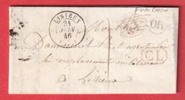 CAD TYPE 15 LISIEUX CALVADOS 1846 OR FUMICHON DECIME RURAL ANNULE CL ROUGE TAXE LOCALE 1 POUR LISIEUX - 1849-1876: Periodo Classico