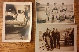 3 Petites Photos De Zouaves Vers 1939 Dont Une En Tenue Coloniale Avec Le Casque Pain De Sucre , D'autres En Chechia - Guerra, Militares