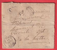 CAD TYPE15 CHERCHELL ALGERIE YAXE TAMPON 30 BOITE RURALE A NOVI POUR BEAUMONT LE VICOMTE SARTHE 1855 - 1849-1876: Periodo Clásico