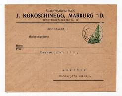 1921 KINGDOM SHS, SLOVENIA, MARIBOR LOCAL, BISECT STAMP, KOKOSCHINEGG FASHION WAREHOUSE HEADED COVER - Covers & Documents