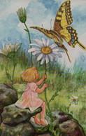 IiLLUSTREE Signée DOCKA : Ange, Marguerite Et Papillon - Anges