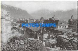 167285 SWITZERLAND MONTREUX THE STATION TRAIN POSTAL POSTCARD - Non Classés