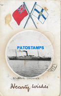167303 SHIP BARCO R.M.S ORONTES & MULTI FLAG SPOTTED CIRCULATED TO ARGENTINA POSTAL POSTCARD - Non Classés