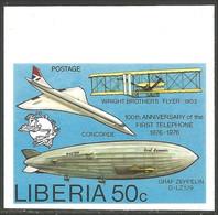 572 Liberia UPU ITU UIT Non Dentelé Airplane Zeppelin Avion MNH ** Neuf SC (LBA-297) - Telecom